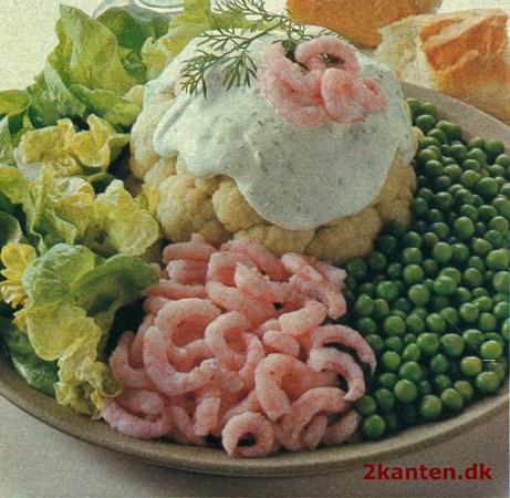 Blomkål Med Rejer ærter Og Kryddersauce